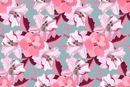 Art floral vector seamless pattern. Pink lilies.