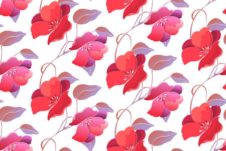 Art floral vector seamless pattern, red flowers. Çizim