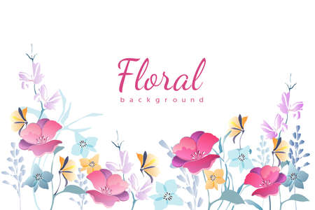 Vector floral background. Frame with garden flowers. Pink, blue, yellow pastel flowers isolated on white background. For cards, templates, romantic, Valentines and Easter design, announcements.