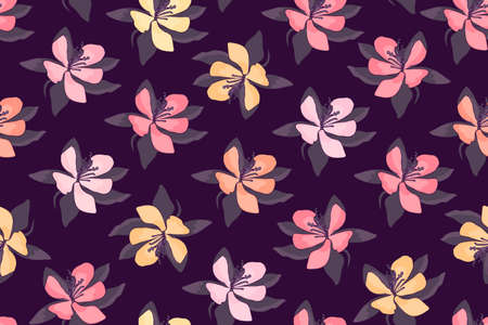 Art floral vector seamless pattern. Pink, yellow, light orange flowers isolated on deep purple background. Endless pattern for wallpaper design, fabric, home and kitchen textiles.