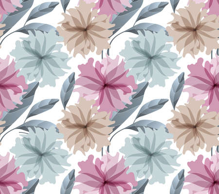 Art floral vector seamless pattern. Light maroon, blue and beige translucent flowers, blue leaves isolated on a white background. Watercolor style. For wallpaper design, fabric, home textile. Illusztráció
