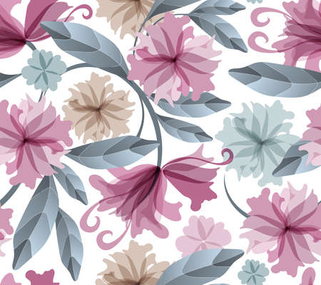 Art floral vector seamless pattern. Light maroon, blue and beige translucent flowers, blue branches and leaves isolated on a white background. Watercolor style. For wallpaper, fabric, home textile.
