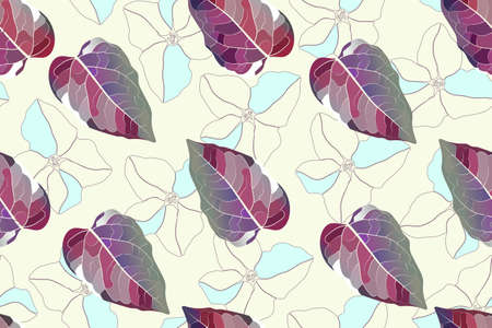 Art floral vector seamless pattern. Maroon leaves, ice blue and transparent flowers isolated on ivory background. Endless pattern for wallpaper design, fabric, textile.  Çizim