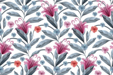 Art floral vector seamless pattern. Maroon, blue and orange translucent flowers, blue branches and leaves isolated on a white background. Watercolor style. For wallpaper, fabric, home textile.