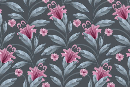 Art floral vector seamless pattern. Maroon translucent flowers, grey-blue branches and leaves isolated on a slate gray background. Watercolor style. For wallpaper design, fabric, home textile.