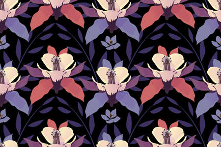 Art floral vector seamless pattern. Purple and coral color flowers and leaves isolated on black background. Çizim