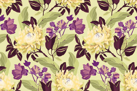 Art floral vector seamless pattern. Pale yellow asters, purple mallow, brown branches, light green leaves. Garden flowers isolated on pistachio color background.