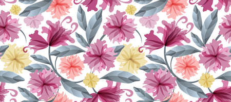 Art floral vector seamless pattern. Maroon, yellow, coral color translucent flowers, blue branches and leaves isolated on a white background. Watercolor style. For wallpaper, fabric, home textile.