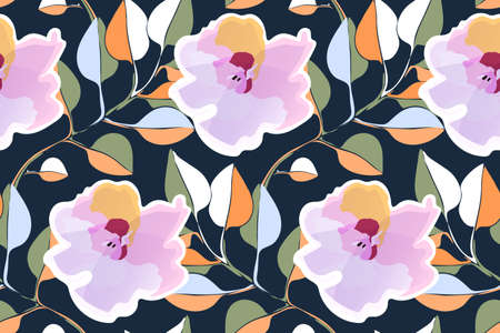 Art floral vector seamless pattern. Pink flowers, pale green, white, orange branches with leaves isolated on navy blue background. Ilustrace