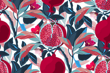 Nahtloses Muster des Kunstblumenvektors. Granatapfelbaum mit kastanienbraunen Früchten, blauen und rosa Blättern. Reife Granatäpfel mit Körnern und Blumen auf einem weißen Hintergrund.