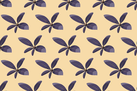 Art floral vector seamless pattern. Purple leaves isolated on ivory background. Delicate endless pattern for wallpaper, fabric, textile, digital paper.