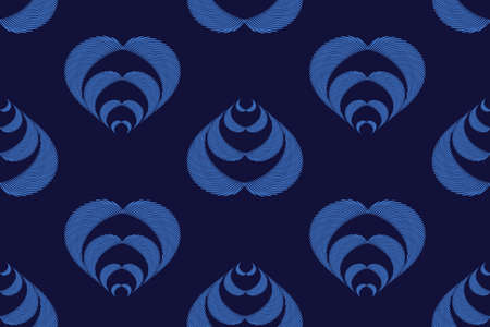 Art floral vector seamless pattern. Neon blue fluted leaves isolated on a deep blue background. Jacquard style. Endless pattern with leaves for wallpaper design, fabric, textile, digital paper. Иллюстрация