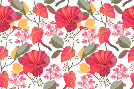Art floral vector seamless pattern. Red, maroon garden mallow flowers, pink gillyflower, branches with colorful leaves isolated on white background. Tile pattern for wallpaper, fabric, textile, paper.