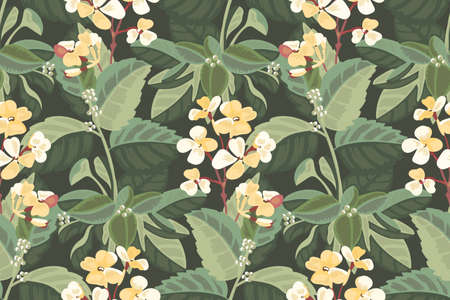 Art floral vector seamless pattern. A pale yellow Mattiola incana in the green foliage of a white hydrangea. Garden flowers, stems, leaves isolated on deep forest green background. 向量圖像