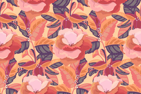 Art floral vector seamless pattern. Beige, pink, maroon viola flowers and leaves isolated on pale yellow background. Tile pattern for wallpaper, fabric, textile, paper.