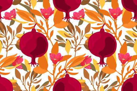 Art floral vector seamless pattern. Maroon fruit pomegranates with pink flowers, orange branches and leaves isolated on white background. Tile pattern for wallpaper, fabric, textile, paper.
