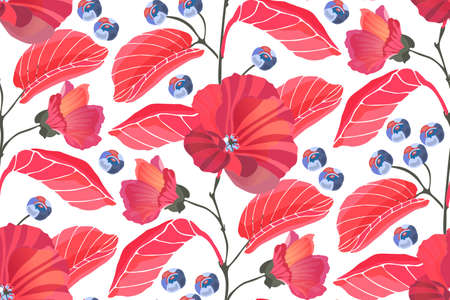 Art floral vector seamless pattern. Red mallows, branches, leaves, blue berries isolated on white background. Tile pattern for wallpaper design, fabric, kitchen textile, wrapping and digital paper.
