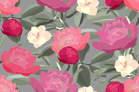 Art floral vector seamless pattern. Red, pink, cream peonies, viola, buds, green branches, leaves, isolated on olive background. Tile pattern for wallpaper design, fabric, kitchen textile, paper.