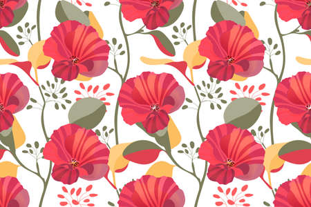 Art floral vector seamless pattern. Red, maroon garden mallow flowers, branches with colorful twigs and leaves isolated on white background. Tile pattern for wallpaper, fabric, textile, paper.