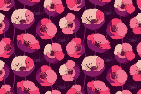 Art floral vector seamless pattern. Red, pink, maroon, burgundy, beige poppies isolated on deep purple background. Tile pattern with papaver flowers for wallpaper design, fabric, interior textile. Illusztráció