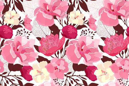Art floral vector seamless pattern. Pink, pale yellow, maroon flowers, brown, pink transparent leaves isolated on white background. Tile pattern for wallpaper, fabric, interior textile, card.