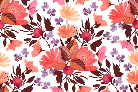 Art floral vector seamless pattern. Red, pink, purple, orange, maroon flowers, brown, orange leaves isolated on white background. Tile pattern for wallpaper, fabric, interior textile, card, template.