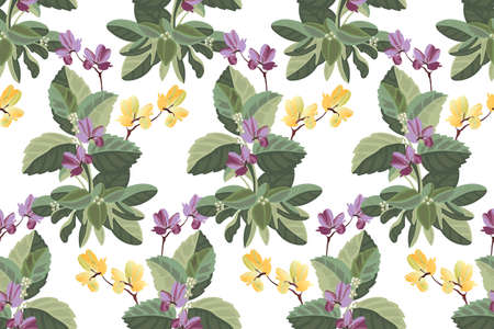 Art floral vector seamless pattern. Yellow, purple flowers in the green foliage. Vector botanical elements isolated on white background. Tile pattern for wallpaper, fabric, interior textile, card.
