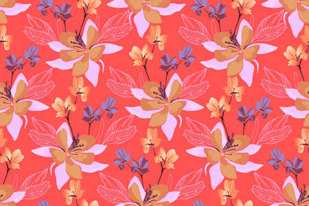 Art floral vector seamless pattern. Vector flowers isolated on red background. Tile pattern for wallpaper design, fabric, interior textile, card, template, banner, digital paper.