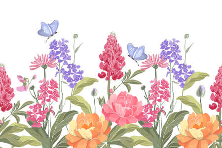 Vector floral seamless border. Spring flowers, green leaves, butterflies. Lupine, peony, tufted vetch, bird vetch, calendula, marigold. Pink, purple, orange spring garden flowers on white background.