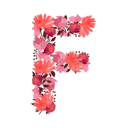 Vector floral capital letter, character F. Botanical monogram. Pink, maroon, coral color flowers in the shape of a bold letter isolated on white background. Chicory, peonies, lilies with branches.