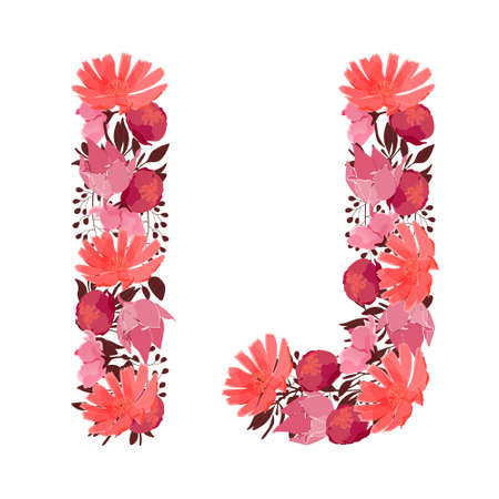 Vector floral letters, capital characters I and J. Botanical monogram. Pink, maroon, coral color flowers of a bold letters isolated on white background. Chicory, peonies, lilies with branches. Ilustracja