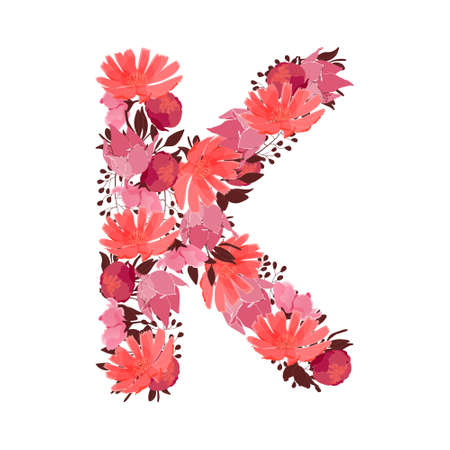 Vector floral letter, capital character K. Botanical monogram. Pink, maroon, coral color flowers in the shape of a bold letter isolated on white background. Chicory, peonies, lilies with branches.
