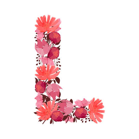 Vector floral letter, capital character L. Botanical monogram. Pink, maroon, coral color flowers in the shape of a bold letter isolated on white background. Chicory, peonies, lilies with branches.