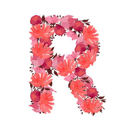 Vector floral letter, capital character R. Botanical monogram. Pink, maroon, coral color flowers in the shape of a bold letter isolated on white background. Chicory, peonies, lilies with branches. Illustration