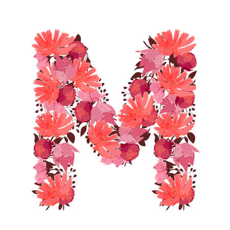 Vector floral letter, capital character M. Botanical monogram. Pink, maroon, coral color flowers in the shape of a bold letter isolated on white background. Chicory, peonies, lilies with branches.