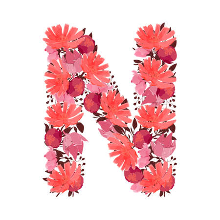 Vector floral letter, capital character N. Botanical monogram. Pink, maroon, coral color flowers in the shape of a bold letter isolated on white background. Chicory, peonies, lilies with branches.