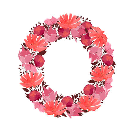 Vector floral letter, capital character O. Botanical monogram. Pink, maroon, coral color flowers in the shape of a bold letter isolated on white background. Chicory, peonies, lilies with branches. Ilustracja