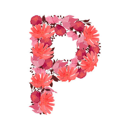 Vector floral letter, capital character P. Botanical monogram. Pink, maroon, coral color flowers in the shape of a bold letter isolated on white background. Chicory, peonies, lilies with branches. Ilustracja
