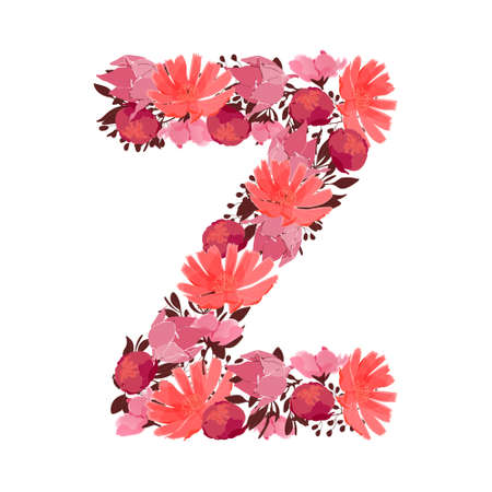 Vector floral letter, capital character Z. Botanical monogram. Pink, maroon, coral color flowers in the shape of a bold letter isolated on white background. Chicory, peonies, lilies with branches. Illustration