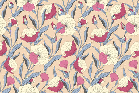 Art floral vector seamless pattern. Light yellow, pink flowers with blue branches, leaves and petals isolated on beige background. For home textiles, fabric, wallpaper, accessories, digital paper. Vettoriali