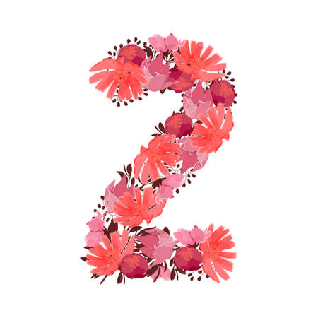 Vector flower number 2. Botanical character, figure. Pink, maroon, coral color flowers in the shape of a bold number isolated on white background. Chicory, peonies, lilies with branches.