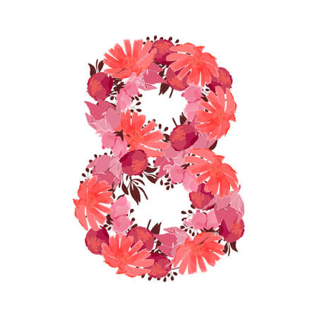 Vector flower number 8. Botanical character, figure. Pink, maroon, coral color flowers in the shape of a bold number isolated on white background. Chicory, peonies, lilies with branches.
