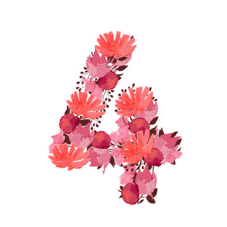 Vector flower number 4. Botanical character, figure. Pink, maroon, coral color flowers in the shape of a bold number isolated on white background. Chicory, peonies, lilies with branches.