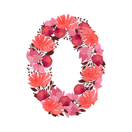 Vector flower number 0. Botanical character, figure. Pink, maroon, coral color flowers in the shape of a bold number isolated on white background. Chicory, peonies, lilies with branches.
