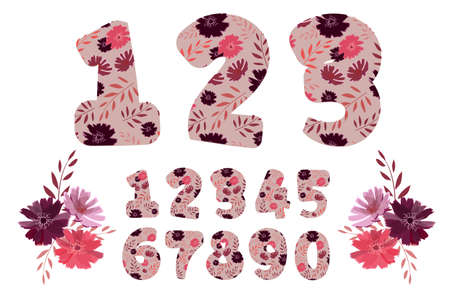 Vector cartoon adorable flower numbers from 0 to 9. Botanical character, figure. Pink, maroon, purple, coral color flowers in the shape of a bold number. Chicory flowers with branches. Ilustracja