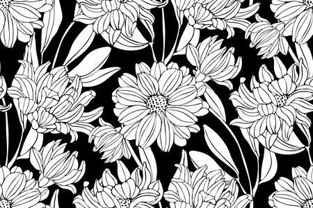 Vector seamless flower pattern in black and white. White garden chrysanthemums with buds and leaves isolated on a black background.