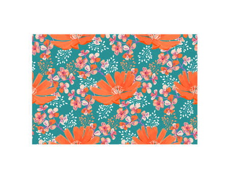 Art floral vector seamless pattern. Orange flowers, white, orange, violet twigs with small flowers isolated on marine background. Tile pattern.