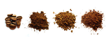 Coffee beans, sublimated, freeze-dried, instant. Four types of coffee isolated on a white background