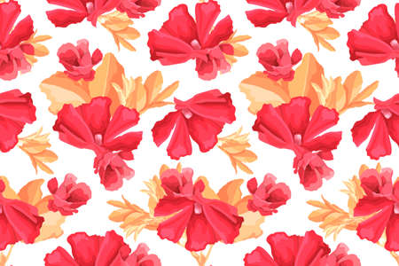 Vector floral seamless pattern. Red mallow flowers, buds, beige leaves isolated on white background. For home textiles, fabric, wallpaper, kitchen decor, paper, accessories. Watercolor style. Ilustração