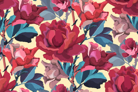 Art floral vector seamless pattern. Red, burgundy, maroon garden rose, peony flowers and buds, blue branches and leaves isolated on light yellow background.